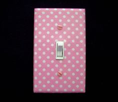 Polka Dots Light Switch Cover Pink and White / Nursery Decor / Switchplate / Switch Plate on Etsy, $10.00