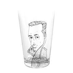 Albert Camus caricature glass