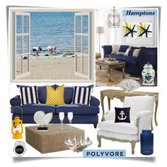 Hamptons3 by lisajean1957 on Polyvore featuring interior, interiors, interior design, home, home decor, interior decorating, Haute House, Williams-Sonoma, Shabby Chic and Orrefors