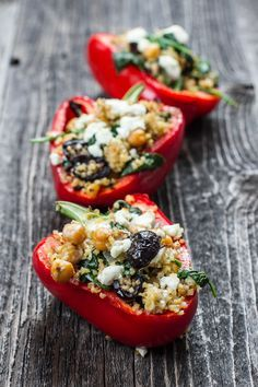 Greek Stuffed Peppers // full of health, protein and yummy via Edible Perspective
