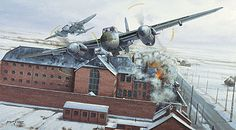 Operation Jericho - The Amiens Raid; This astounding February 1944 precision bombing operation mounted by RAF de Havilland Mosquitoes breached the prison walls to allow French resistance fighters doomed to execution to escape. Ww2 Aircraft, Aircraft Carrier, Military Aircraft, Fighter Aircraft, De Havilland Mosquito, Aircraft Painting, Airplane Art, Ww2 Planes, Aircraft Design