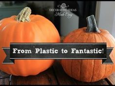 How To Make Your Own Personalized Pumpkins - Save on your fall and Halloween decor Fake Pumpkins, Artificial Pumpkins, Plastic Pumpkins, Halloween Pumpkins, Fall Halloween, Halloween Decorations, Fall Decorations, Haunted Halloween, Halloween Crafts