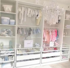 A gorgeous boy-girl shared closet with plenty of storageCredit to @baby_mayssa... - Home Decor For Kids And Interior Design Ideas for Children, Toddler Room Ideas For Boys And Girls