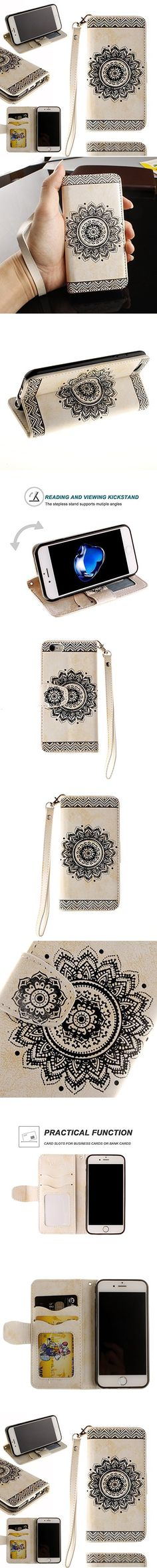 Mother's Day Gifts-For iPhone 7Plus Wallet Case,Valentoria Mandragora Flower Premium Vintage Emboss Leather Wallet Pouch Case with Wrist Strap for iPhone 7 5.5inch (White)
