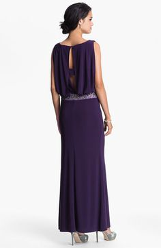 Love the back of this dress.  JS Boutique Back Keyhole Embellished Blouson Jersey Gown | Nordstrom