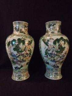 LA-6360 Pair Chinese porcelain Famille Verte baluster vases. 21.25H 11.5''Diam