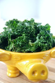 Kale chips. Super easy and nummy. May try with garlic powder and a dash of season salt next time. Super awesome.