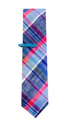 Brighten up your summer wardrobe with linen madras plaid tie and colorful tie bar.