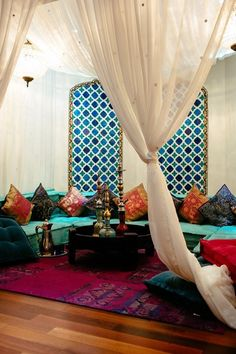 Very inviting Moroccan Style room. 10 Must-See Room for Color Entries: Week Three