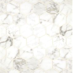 Upgrade your bathroom with a hint of sophistication with this box of 10 Carrara marble mosaic tile sheets. These sheets of tiles sport a natural marble mosaic pattern with a polished finish and natura Mosaic Tile Sheets, Hexagon Tiles, Mosaic Tiles, Wall Tiles, Hexagon Pattern, Mosaic Floors, Tiling, Pattern Print, Mosaics