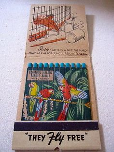 VINTAGE FEATURE MATCHBOOK 1950's PARROT JUNGLE MIAMI FLORIDA~ To order your Business' Own Branded #Matchbooks or #matchboxes GoTo: www.GetMatches.com or CALL 800.605.7331 Today!