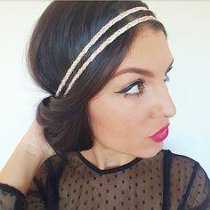 Headband serre tête vieux rose, beige et doré tressé - accessoire cheveux  mariage hippie chic   Accessoires coiffure par menina-for-mathis 81a5c9043dc