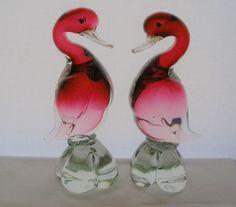 Spectacular MURANO Duck PAIR Cranberry GLASS Bird SCULPTURES Exquisite RARE Find