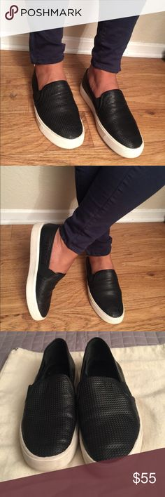 "VINCE  Well loved Condition. Has tons of life left. Vince perforated calfskin leather slip-on skate sneaker. 0.5"" platform heel. Round toe. Notched vamp with stretch insets. Leather lining and padded insole. Rubber outsole. ""Blair"" is imported of Italian material. Vince Shoes Flats & Loafers"