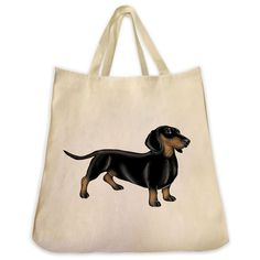 Black and Tan Dachshund Color Full Body Design Extra Large Eco Friendly Reusable Cotton Canvas Tote Bag