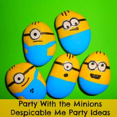 Despicable Me 2 Birthday Party Ideas & Supplies - Save the Minions - just begging to be painted rocks! Stone Crafts, Rock Crafts, Diy And Crafts, Crafts For Kids, Arts And Crafts, Bee Crafts, Pebble Painting, Pebble Art, Stone Painting