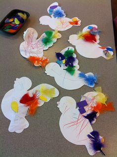 B is for Bird activity that uses feathers to decorate the little birds.  cute!