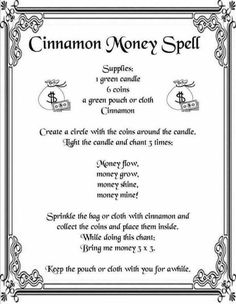Cinnamon Money Spell {Printable Spell Page} Witchcraft Spell Books, Wiccan Spell Book, Wicca Love Spell, Wiccan Art, Witch Spell, Good Luck Spells, Easy Spells, Money Spells That Work, Real Love Spells