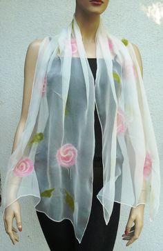 Nuno felted scarf flowers  silk and merino wool by MajorLaura