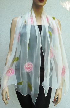 Nuno felted scarf flowers  silk and merino wool by MajorLaura