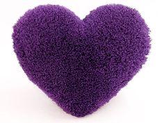 Curly Shag Purple Heart Decorative Toss Pillow by SendASmooch
