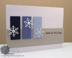 Crafting in the Country: Falling Snowflakes Card Cute Cards, Diy Cards, Holiday Cards, Christmas Cards, Christmas Snowflakes, Snowflake Cards, Simple Snowflake, Winter Cards, Card Sketches