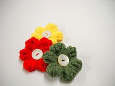Mens Boutonnieres, cotton flowers hand crocheted in red, yellow or green with vintage white button centers. $8.00 each
