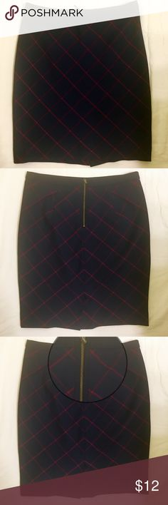 """THE LIMITED Plaid Exposed Zipper Mini Skirt Classic and sexy, this navy and maroon plaid skirt is the perfect addition to your fall/winter wardrobe. The exposed zipper on the back side is flirty and adds sex appeal, but is understated enough to wear to the office. Looks adorable with a chunky cropped cream turtleneck sweater or a form-fitting top. Worn only one time.   Length: Approx. 22""""  Waist: Approx. 33"""" Slit: 5.25"""" Zipper: 6.75"""" The Limited Skirts Mini"""