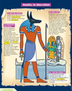 Fiche exposés : Anubis, le dieu-chien Egyptian Mythology, Ancient Egyptian Art, Greek Mythology, Ancient History, Anubis, French Class, French Lessons, Egypt Map, French Expressions