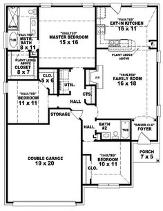 654049 one story 3 bedroom 2 bath french traditional style house plan - 3 Bedroom Home Design Plans