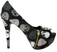 ☆ Black Skull with Zipper Heels ☆