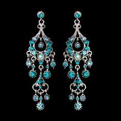 Silver Teal Formal Chandelier Earrings - Affordable Elegance Bridal -