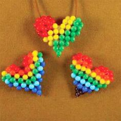 Rainbow and Rasta Puffy Heart Patterns | Bead-Patterns.com
