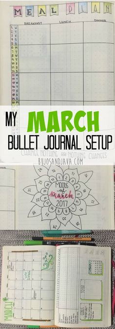 My March Bullet Journal Monthly Layout with calendar, habit tracker, meal plan, workout tracker, and gratitude log... plus more