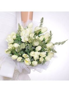 Tulle Wrapped Ivory Tulip Wedding Flower for Wedding Party MS24YC905