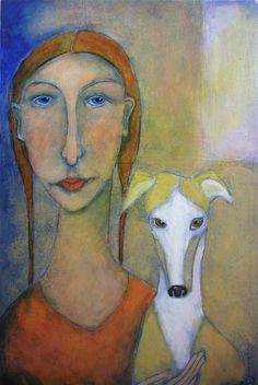 """greyhound and proud"" acrylic painting by cindy riccardelli"