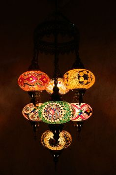 Multicolour Turkish Mosaic Hanging Lamp Light Hand Made 7 Large Globe Brass Base