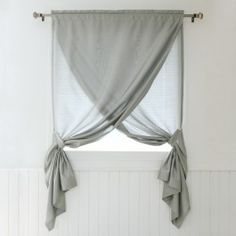 The Decorinnovation Faux Silk Overlapping Window Curtain Panel is really two pan. The Decorinnovation Faux Silk Overlapping Window Curtain Panel is really two panels that hang on one rod and drape t Bathroom Window Coverings, Small Bathroom Window, Small Window Curtains, Bathroom Window Curtains, No Sew Curtains, Home Curtains, Bathroom Windows, Panel Curtains, Window Seats
