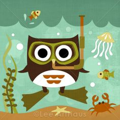 66R Retro Scuba Owl 6 x 6 Print  Cuteness!    What drives your dive? https://facebook.com/whatdrivesyourdive