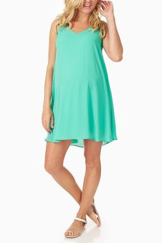 Basic-Green-Chiffon-Maternity-Dress