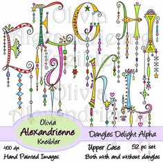 Dangles Delight Alphabet Upper Case is a downloadable set of 52 original clip art images. There are two complete alphabet sets, one with dangles and