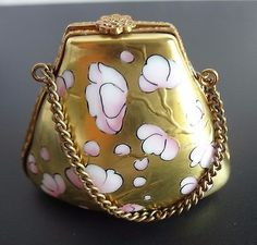 ROCHARD-LIMOGES-TRINKET-BOX-FRENCH-BLUE-PURSE-BAG-CHERRY-BLOSSOMS-CHAIN-HANDLE