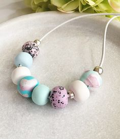 Polymer clay necklace , pastel beaded necklace , handmade necklace , leather cord necklace , gift for her