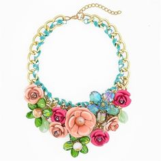 Rose Garden Bib - chunky flower statement necklace by Shamelessly... ($29) ❤ liked on Polyvore featuring jewelry, necklaces, accessories, rose jewelry, rosette necklace, sparkly necklace, bib statement necklace and rose necklace