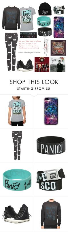 """Panic! At The Disco"" by hmmong ❤ liked on Polyvore featuring Topshop, Converse, LOVA and Ødd."