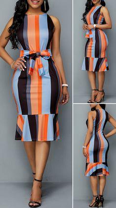 Tie Front Color Block Ruffle Hem Sheath Dress - New Site Short African Dresses, Latest African Fashion Dresses, African Print Fashion, Women's Fashion Dresses, Dress Outfits, Elegant Dresses Classy, Classy Dress, Beautiful Dresses, Classy Work Outfits