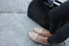 Studded loafers.