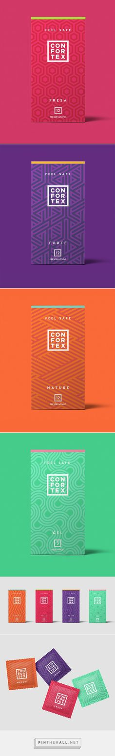 I like how the design looks, the bright colors and geometric patterns work well together.but I'm not sure if this brand really works for condoms lol Web Design, Label Design, Branding Design, Logo Design, Package Design, Cool Packaging, Tea Packaging, Print Packaging, Geometric Patterns