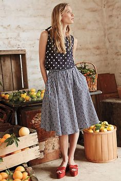 Gingham Market Skirt - great use of mixed neutral patterns and pop of color Cool Outfits, Casual Outfits, Fashion Outfits, Kimono Fashion, Street Style, Spring Summer Fashion, Dress Skirt, Style Me, Anthropologie