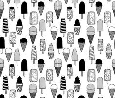 ice cream // ice cream cones black and white kids fun tropical summer sweets fabric print design fabric by andrea_lauren on Spoonflower - custom fabric Cool Patterns, Print Patterns, Fabric Print Design, Black And White Fabric, Black White, Texture, Cool Kids, Kids Fun, Background Patterns